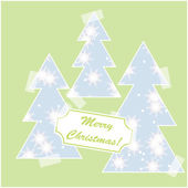 Merry Christmas card with snow and christmas trees — Stock Vector