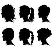 Set vettoriale di silhouette donna con lo styling dei capelli — Vettoriale Stock
