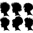 Vector set of woman silhouette with extreme hair styling — Stock Vector