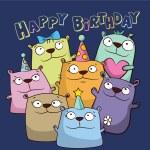 Birthday card with funny cartoon bears — Stock Vector #21121339