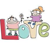 Carte de saint valentin, couple drôle de bande dessinée dans l'amour — Vecteur