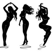Sexy woman silhouettes — Stock Vector
