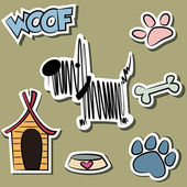 Funny Dog and accessory sticker set — Stock Vector