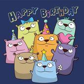 Birthday card with funny cartoon bears — Stock Vector