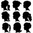 Vector set of woman silhouette with hair styling — Stock Vector