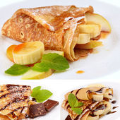 Kiwi crepes with chocolate sauce — Stock Photo