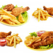 Stock Photo: Fried drumsticks with french fries