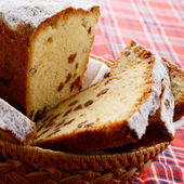 Raisin cake in the basket — Stock Photo