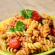 Pasta fusilli with bolognese — Stock Photo