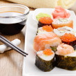 Stock Photo: Mixed sushi on white plate