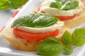 Caprese sandwiches with mozzarella — Stock Photo