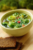 Homemade soup with brussels sprouts — Stock Photo