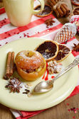Christmas background of Homemade oven baked stuffed apples — Stock Photo