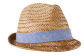 Mens straw hat isolated on white — Stock Photo