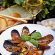 Mussels on plate — Stock Photo