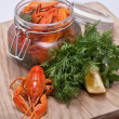 Stock Photo: Crayfish in jar
