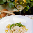 Pasta with cheese and basil  — Stock Photo