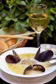 Soup with mussels — Stock Photo