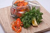 Crayfish in a jar — Stock Photo