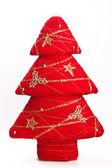 Decorative red christmas tree — Stock Photo