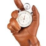 关门的拿秒表的手 — 图库照片