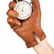 Close Up Of Hand Holding Stopwatch — Stock Photo