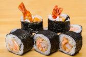 Fresh sushi with shrimps — Stock Photo