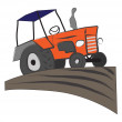 Tractor on the field — Stock Vector