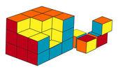 Puzzle cubo — Vettoriale Stock