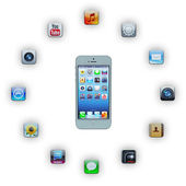 IPhone 5 with applications — Stock Photo
