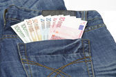 Euro in a jeans pocket — Stock Photo