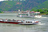 Ships on Rhine river — Stock Photo