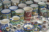 Romanian pottery: mugs — Stock Photo