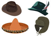 Set of hats vector illustration isolated on white background — Stock Vector