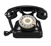 Black retro phone. Telephone isolated on white background — Stock Vector