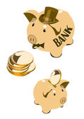Moneybox pig with coins and silk hat — Stock Vector