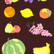 Collection of colorful fruits and berries — Stock Vector