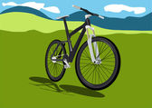 Summer field landscape with realistic bicycle — Stockvector