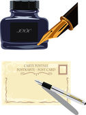 Fountain pen, postcards and bottle of ink — Stock Vector