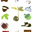 Stock Vector: Set of icon and logo with oak sprout and acorn