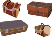 Set of vintage portmanteaus and suitcases luggage — Stock Vector