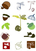 Set of icon and logo with oak sprout and acorn — Stock Vector