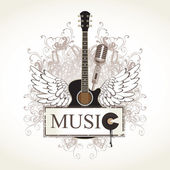 Wings with a guitar — Stock Vector