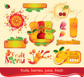 Juices, fruit — Stock Vector