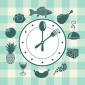Clock and different dishes — Stock Vector
