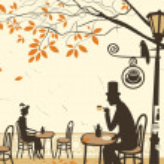 Autumn cafes — Stock Vector