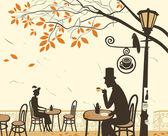 秋天咖啡馆 — 图库矢量图片