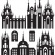 Stock Vector: Castles and churches