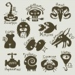 Signs of the zodiac — Vector de stock