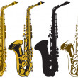 Stock Vector: Saxophones